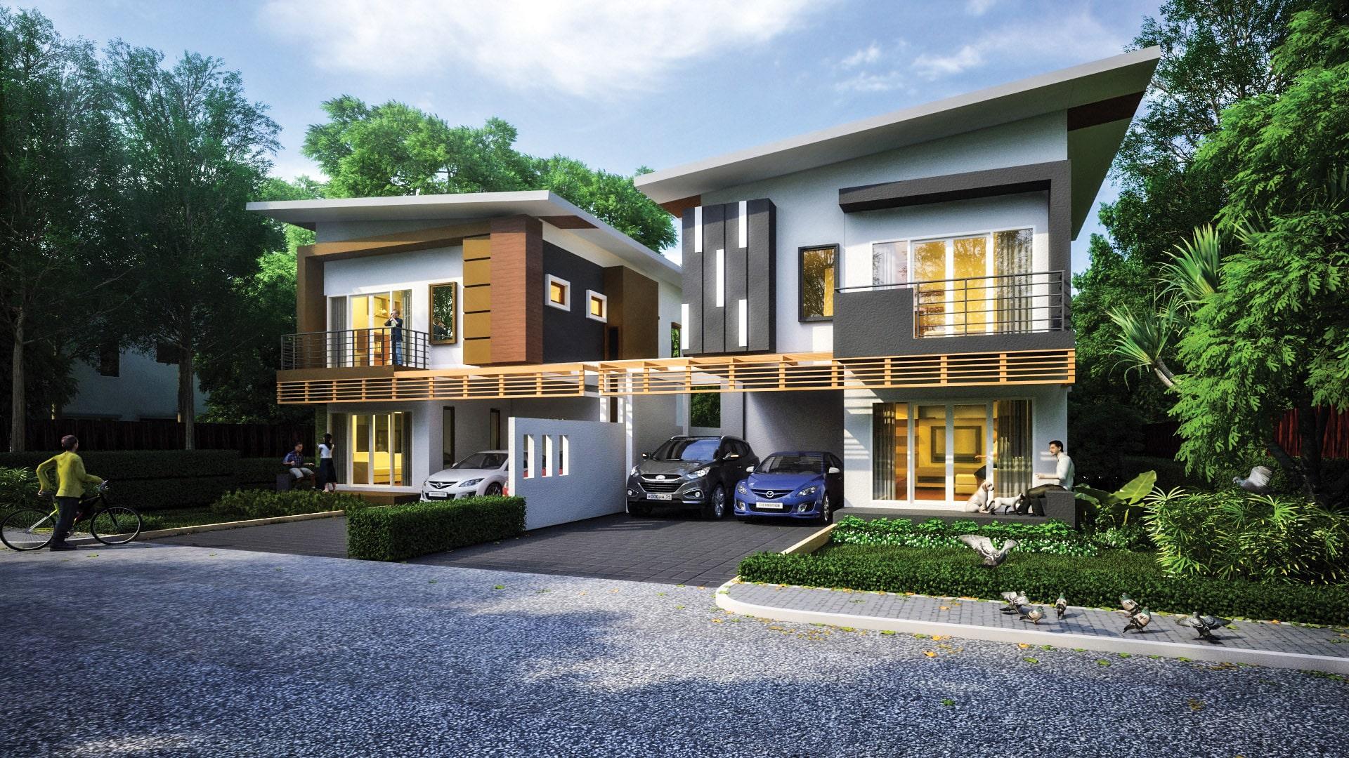 Offer a modern twin house